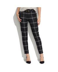 Madewell Black Flat Front Trousers in Windowpane Plaid