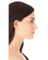 Michael Kors Metallic Pave Slice Stud Earrings - Silver