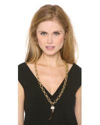 Michael Kors - Black Pave Tortoise Horn Pendant Necklace - Lyst