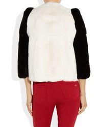 Miu Miu Black Twotone Cropped Rabbit Jacket