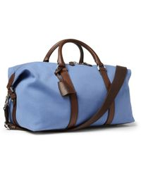 Mulberry Blue Small Clipper Leathertrimmed Canvas Holdall Bag for men