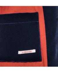 Oliver Spencer Blue Braunton Shawl Collar Velvet Blazer for men