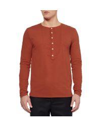 Oliver Spencer Orange Cotton-Jersey Henley T-Shirt for men