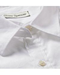 Oliver Spencer White Convertible-Collar Cotton-Poplin Shirt for men