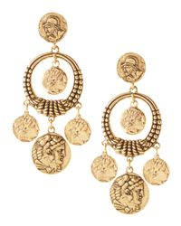 Oscar de la Renta - Metallic Coin Drop Earrings - Lyst