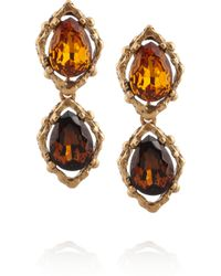 Oscar de la Renta | Metallic Goldplated Crystal Clip Earrings | Lyst