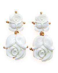 Oscar de la Renta - White Resin Rose Clip Earrings - Lyst