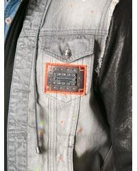 Philipp Plein Gray Denim and Leather Jacket for men