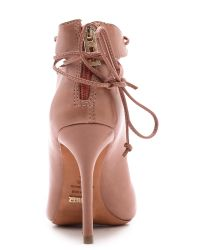 Schutz Natural Slate Lace Up Booties