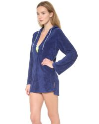 Splendid Blue Signature Terry Hooded Tunic Cover Up