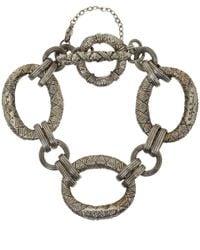 Stephen Dweck Metallic Silver Engraved Link Bracelet for men