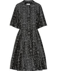 Temperley London Black Fleur Cottonblend Jacquard Dress