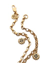 Tory Burch Metallic Winslow Logo Rosary Necklace