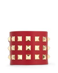 Valentino - Red 'rockstud' Wide Leather Bracelet - Lyst