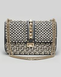 Valentino Multicolor Glam Lock Medium Crystal Shoulder Bag Stone