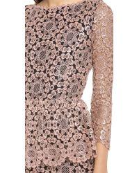 Alice + Olivia Pink Regina Lace Peplum Gown