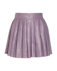 Alice + Olivia Purple Pleated Washedleather Skirt