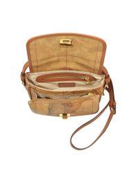 Alviero Martini 1A Classe Brown Geo Classic Print Small 'New Classic' Shoulder Bag With Swivel Clasp