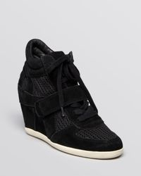 Ash Black Lace Up High Top Wedge Sneakers Bowie Mesh