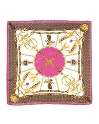 Aspinal Silk Scarf with Pink Horse Shoe
