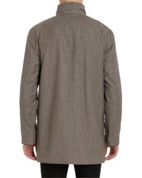 Battistoni Gray Retractable Hood Raincoat for men