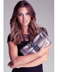 Bebe Gray Chain Clutch Bag