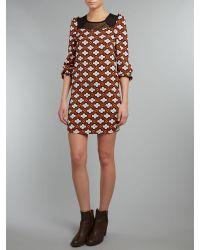 Cutie Orange Flower Print Tunic Dress