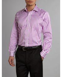 Duchamp Pink Longsleeved Bolt Stripe Formal Shirt for men