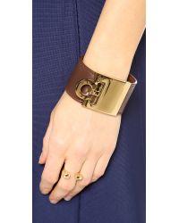 Ferragamo Brown Wide Gancio Cuff Bracelet - Acero