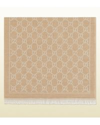 Gucci Natural Gg Jacquard Pattern Knit Scarf for men