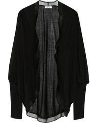 Helmut Lang Black Silk Chiffon trimmed Jersey Cardigan