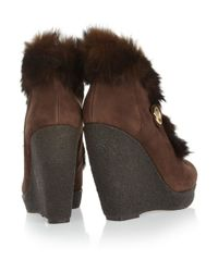 MICHAEL Michael Kors Brown Lara Rabbittrimmed Suede Wedge Boots
