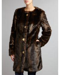 Michael Kors Brown Knee Length Fur Coat