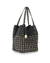 Patrizia Pepe Black Studs Crystal Tote Bag