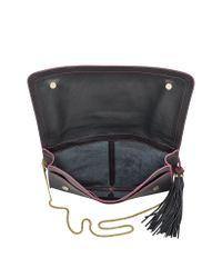 Patrizia Pepe Black Large Flat Signature Leather Clutch Wshoulder Bag