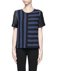 Sandro Blue Eveil Multi-stripe Top