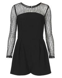 TOPSHOP Black Lace Long Sleeve Playsuit