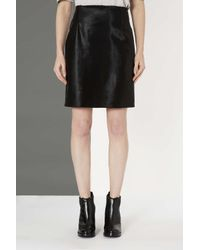 TOPSHOP Black Smooth Fur Skirt By Boutique