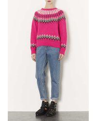 TOPSHOP Pink Knitted Fairisle Jumper