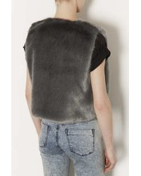 TOPSHOP Gray Petite Boxy Faux Fur Gilet