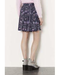 TOPSHOP Blue Printed Button Through Skirt
