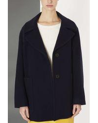 TOPSHOP Blue Wool Coat