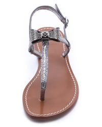 Tory Burch Gray Bryn Pave Bow Flat Sandals
