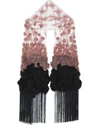Valentino Pink Fringed Lace Scarf