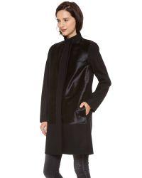 Vince Black Calf Hair Inset Wool Coat