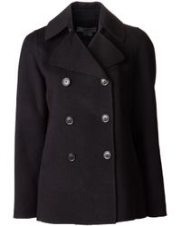 Vince Black Double Breasted Peacoat