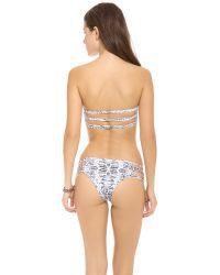 Mikoh Swimwear Gray Sunset String Bandeau Top