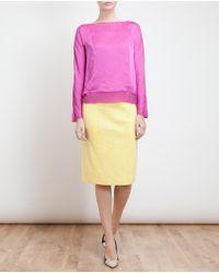Nina Ricci Yellow Boucle Tweed Stretch Pencil Skirt
