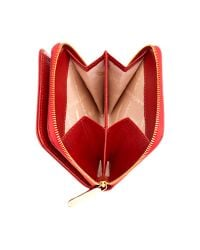 Aspinal Red Katie Pebbled Leather Zipped Coin Purse