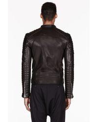 Balmain Black Ribbed Leather Biker Jacket For Men Lyst